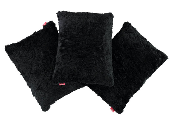 Futrzana poduszka dekoracyjna ASTER czarny 40x50 cm