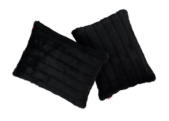 Futrzana poduszka dekoracyjna NORKA czarny 40x50 cm