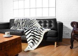 Decorative faux fur bedspread ZEBRA