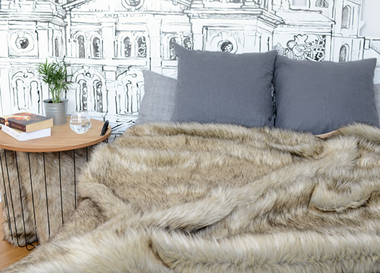Decorative faux fur set GRANDE PINI beige
