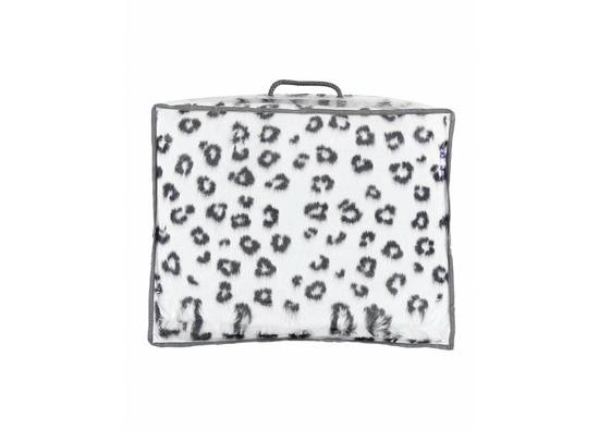 Decorative fur bedspread, blanket OCELOT ecru, black 95x190 cm