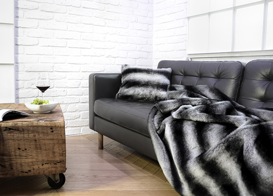 Decorative fur bedspread, blanket ROYAL CHINCHILLA grey 155x200 cm