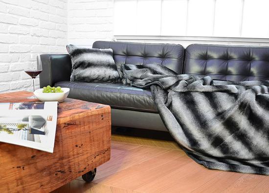 Decorative faux fur bedspread ROYAL CHINCHILLA