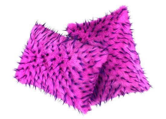 Faux fur pillow HEDGEHOG pink 40x50 cm