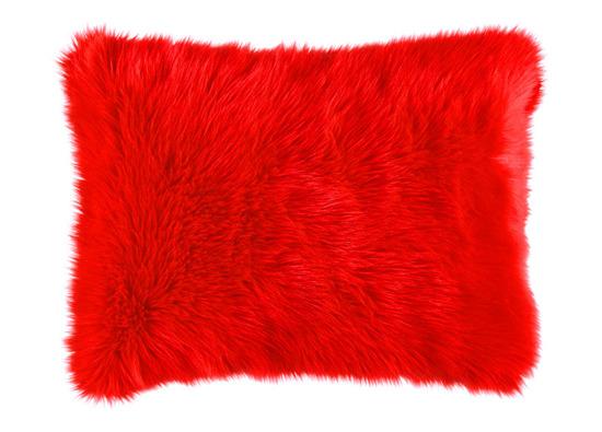 Faux fur pillow SHAGGY red 40x50 cm