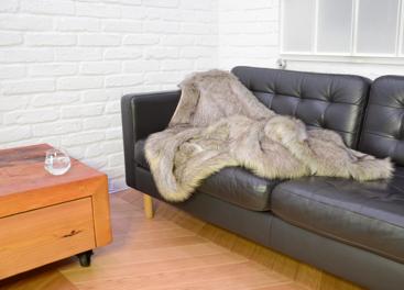 Decorative faux fur bedspread GRANDE PINI beige