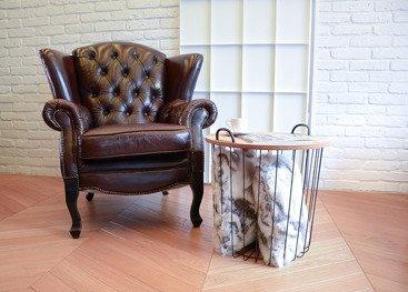 Futrzana poduszka dekoracyjna KOZA beżowy 40x50 cm